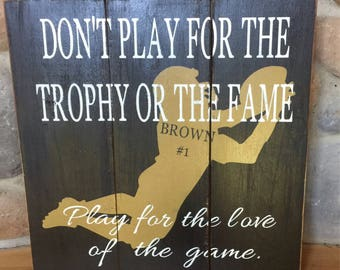 Personalized Football Sign, Football player sign, wooden sports bedroom sign, personalized football sign, football christmas gift, Football