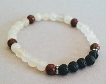 Brown et Pierre clair 6mm diffuseur Bracelet avec perles de lave