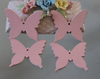 4 charms pink butterfly wood - decoration - wedding