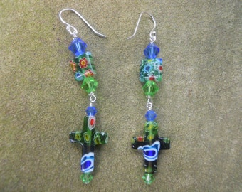 Glass milifiore cross pierced earrings