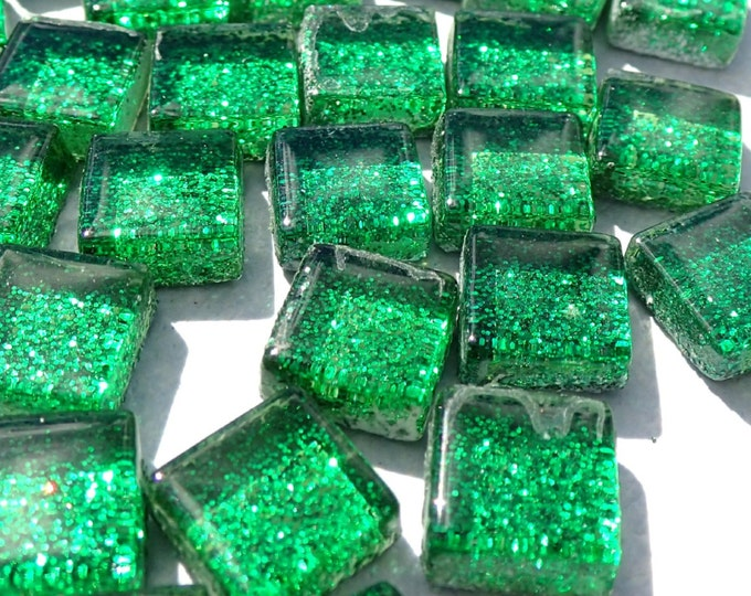 Green Tiny Glitter Tiles - 1 cm - Use for Mosaic Jewelry Crafts - 100 Metallic Tiny Glass Tiles - Kids Projects