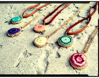 Solar Quartz Necklace • Choose Golden Stainless Chain or Deerskin Leather|Choose Color- Bohemian/Gypsy/Hippie • Natural Jewelry//Vivid Color