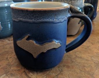 Michigan Upper Peninsula (U.P.) Mug by TC Pottery Studio - Matte Blue Art Glaze