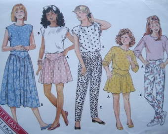 UNCUT Girls Skirt, Pants and Top - Size 12, 14 - Butterick Pattern 4684 - Vintage 1987