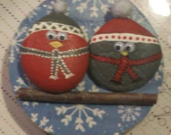 Painted wood/rock owl wall hanging