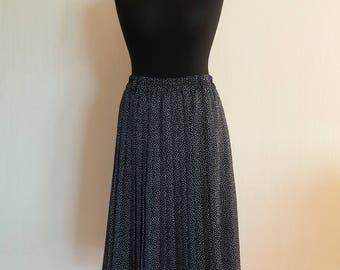 Vintage 80s Black White Polka Dot Accordion Long Elastic Waist Skirt Large Size