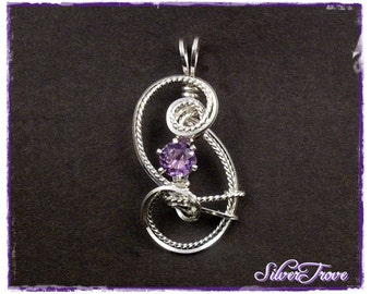 Sterling Silver Pendant Wire Sculpture Faceted Round Birthstone Any Gemstone 0.7 carat Petite Fleur Wire Wrapped Pendant Necklace