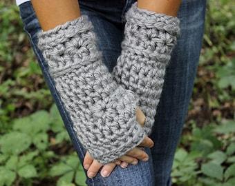 Grey Fingerless Gloves, Grey Gloves, Grey Mittens, Grey Crochet Gloves,Grey Arm Warmers, Grey Crochet Gloves, Grey Wristwarmers,THE STARLING