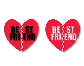 Best Friend Split Heart File, DXF, PDF, ai, eps, png, jpg  svg File for Cameo svg File for Cricut. Cameo, and other electronic cutters