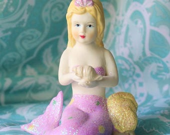 Vintage Porcelain Mermaid Figurine