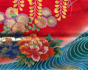 Rainbow of flowers on Red with Blue Stream SF 1259