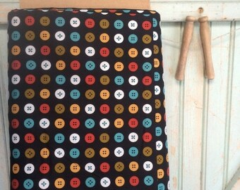 SALE Today Organic Buttons Fabric Fat Quarter Button Circle Fabric Joan | Black Mad Mend for Cloud9 Fabrics Bright Bold Retro FQ Dot Re