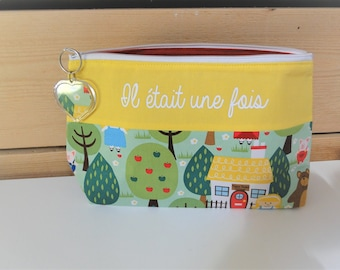 """Toiletry bag """"Once upon a time"""" fabric lined customizable tales to order"""