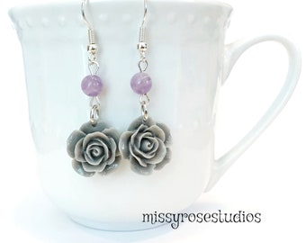 rose earrings dangle, purple and grey, jewelry handmade, amethyst earrings, lightweight earrings silver, hippie jewelry, earrings for girls