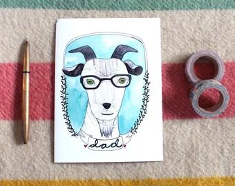 Father's Day Card - Blank Father's Day Card - Card for Dad - Goat Card Dad - Goat Card - Funny Card for Dad - Goat Dad