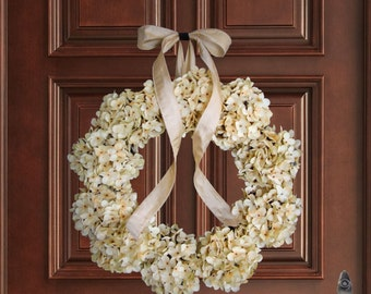 Wreath | Ivory Hydrangea Wreath | Front Door Wreaths | Spring Wreath for Front Door | Summer Wreath | Door Decor | Wedding Wreath