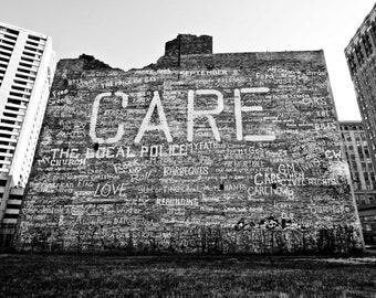 Detroit Photography - CARE Graffiti Brick Wall, Downtown Detroit