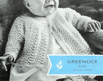 Baby 4ply Matinee Jacket and bootees up to 6 months- Greenock 847 - PDF of a Vintage Knitting Pattern