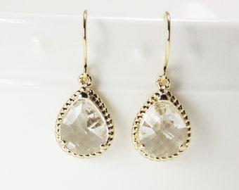 Clear crystal diamond glass gold tear shape dangle drop earrings.  Bridal earrings.  Bridesmaids earrings.  Wedding jewelry