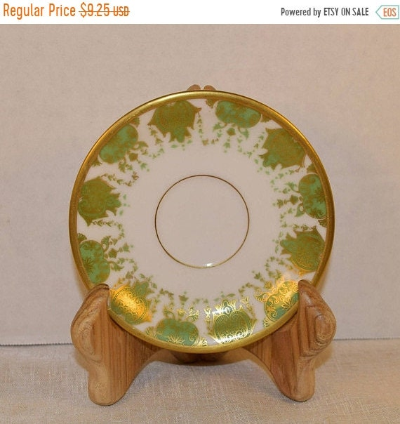 Delayed Shipping La Seynie Limoges P & P Saucer Vintage French Antique Green Gold Saucer Early 20th Century China Elegant Dinnerware Replace