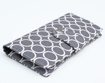 Women's Wallet, Smartphone Wallet, Travel Wallet, Handmade Organizer Clutch, Credit Card Holder Geometrical - white circles in gray