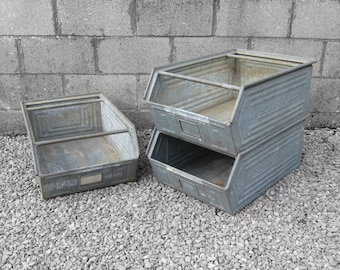 Industrial Storage Crate Boxes - Stacking Kitchen Display Storage Box Rack