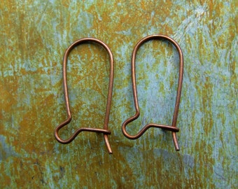 Kidney Earwires 16mm  - SMALL Brass Hand Antiqued - 12 PAIRS