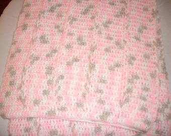 Pink and Grey Crocheted Baby Afghan