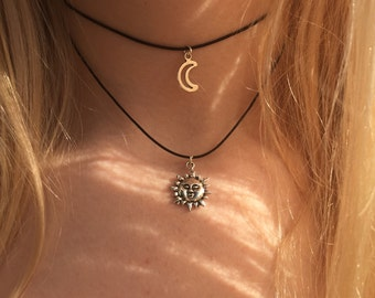 Double choker necklace silver sun and crescent moon charms 90s Layered choker necklace on black cord