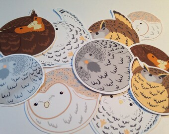 Cute owl sticker set, kawaii owl stickers, kawaii planner stickers, cute bird stickers, lolita, pastel goth, owl gift idea