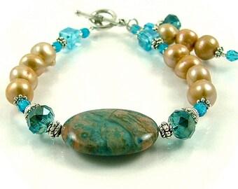 GRANDES DÉMARQUES - océan Crazy Lace Agate, perle et Bracelet en Perles cristal avec Dangles