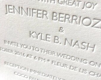 Miss Windham Letterpress Wedding Invitation, Elegant Wedding Invitation Set, Letterpress Wedding Invites, Wedding Invitation Suite, Sample