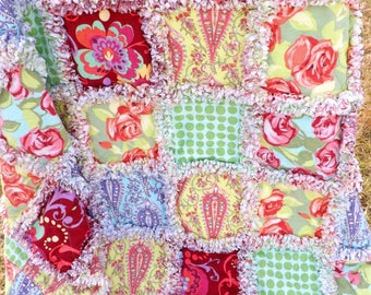Flannel Lap Rag Quilt - Amy Butler Love Fabrics - Florals, Dots, Swirls - Flannel Quilt - Floral Rag Quilt - Gift for Her