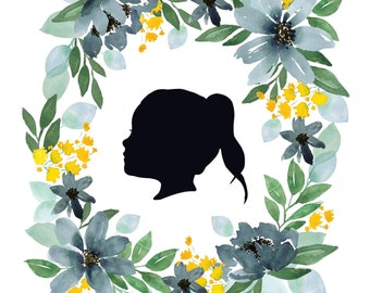 Custom Silhouette Portrait - Green and Blue Floral Wreath