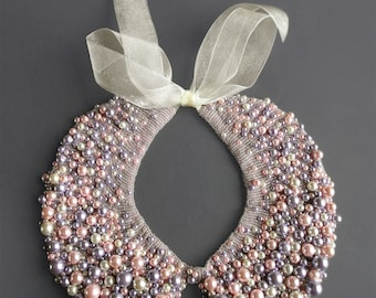 Handmade pearl collar, necklace