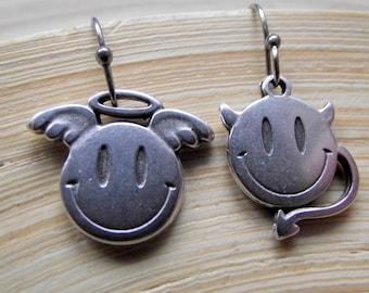 Angel and Devil earrings Stainless steel Hooks