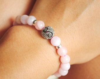 """Simple Design """"Morganite"""" Stone with Silver Beads and Brass Bead Bracelet"""