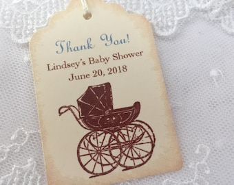 Boy Personalized Baby Shower Tags Thank You Favor Tags Blue Carriage Set of 10