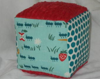 Organic Ant March and Chenille Fabric Block Rattle Toy - SALE