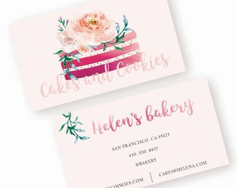 Bakery business card - pink watercolor business card - premade business card design - simple business card template