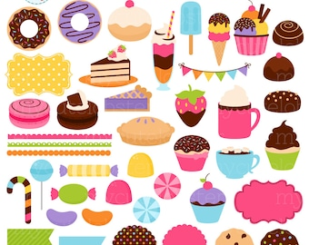 Sweets & Treats Clipart Set - digital elements - donuts, frames, borders, chocolate - personal use, small commercial use, instant download