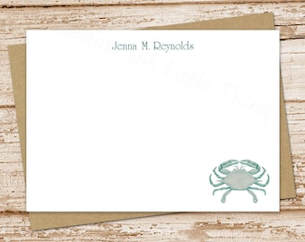 personalized crab note cards set . blue crab notecards . personalized stationery. FLAT stationary . nautical beach cards . set of 10