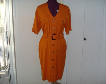 Pumpkin dress with tortoise shell buttons and belt buckle  Size 6