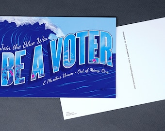"Political Postcards: Set of 60 ""Blue Wave"" postcards, perfect for writing to your reps or get out the vote"