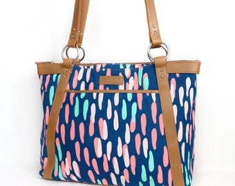 Confetti Laptop Bag In Pink, Mint, and Navy - Laptop Bag, Laptop Tote, Canvas and Vegan Leather