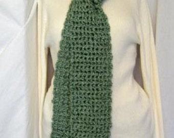 Irish Green Scarf, Extra Long, 87 x 6 Inches, Oversize, Chunky, St Patricks Day, Steampunk, Handmade, Crochet knit, Retro, Spring, Trending