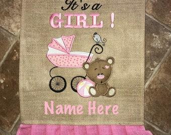 Personalized It's A Girl Garden Flags/Personalized New Baby Girl Burlap Flags/Personalized Burlap Garden Flag/Monogram Announcement Flag