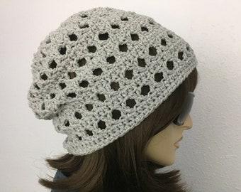 Women Crochet Summer Hat Women Summer Slouchy Beanie in Silver Gray Cotton Yarn Women Spring Hat