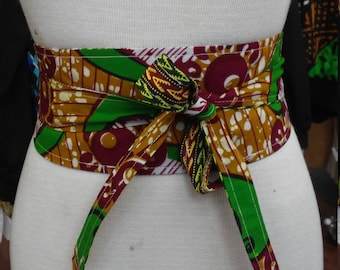 Reversible Obi Belt in African Wax Block Cotton and Dashiki Print