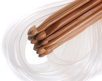 Afghan Tunisian Crochet Hooks Carbonized Bamboo Weave Needles 12 sizes 3 to 10 mm